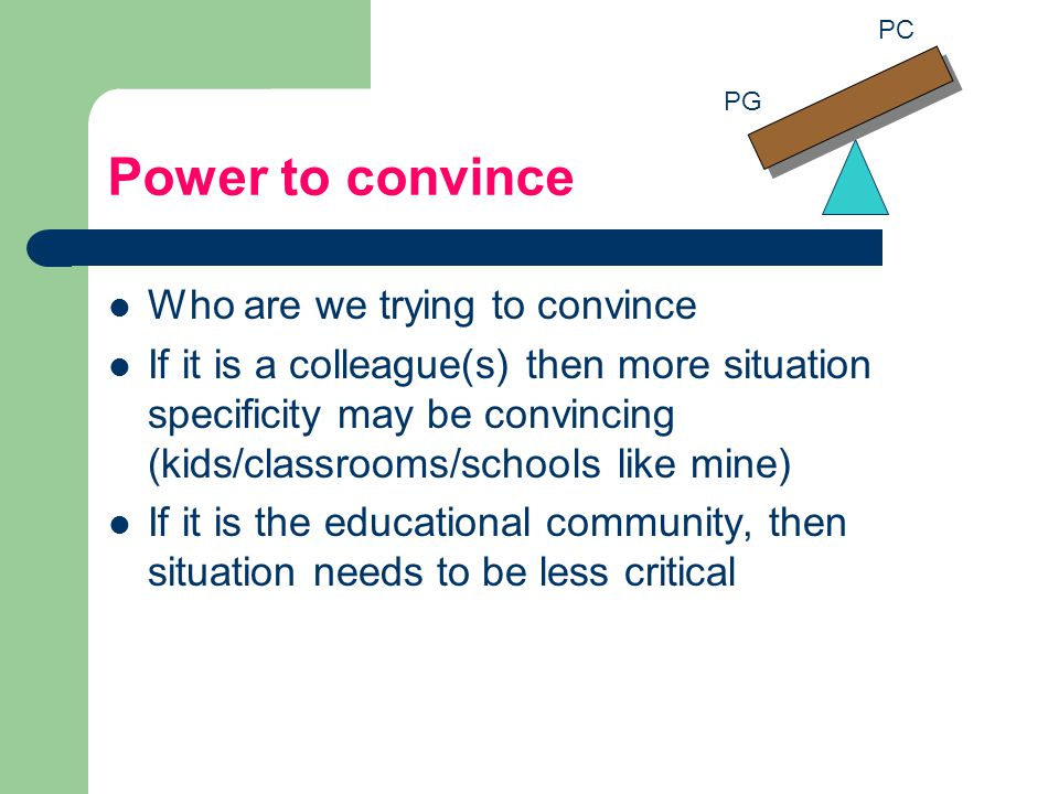 Power to convince Who are we trying to convince