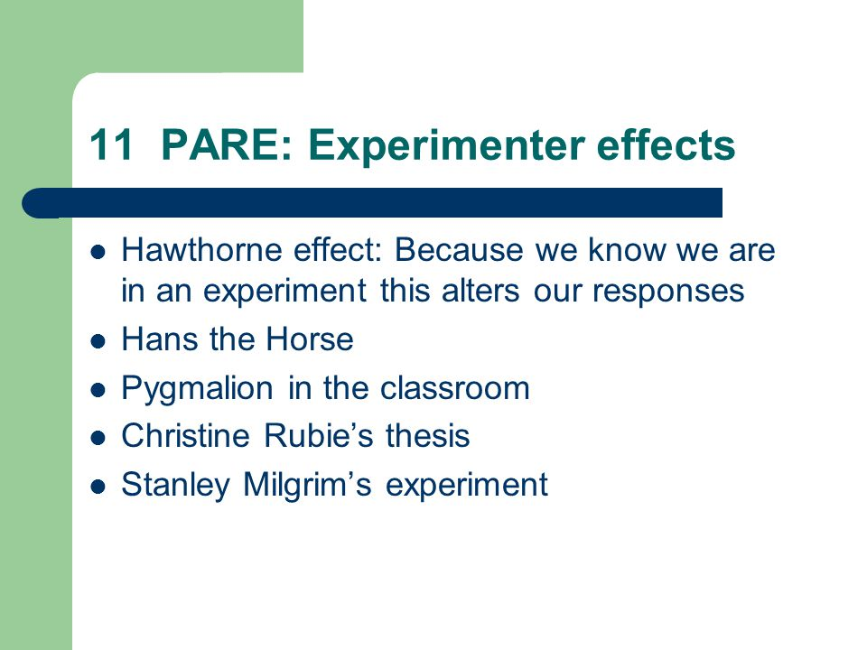 11 PARE: Experimenter effects