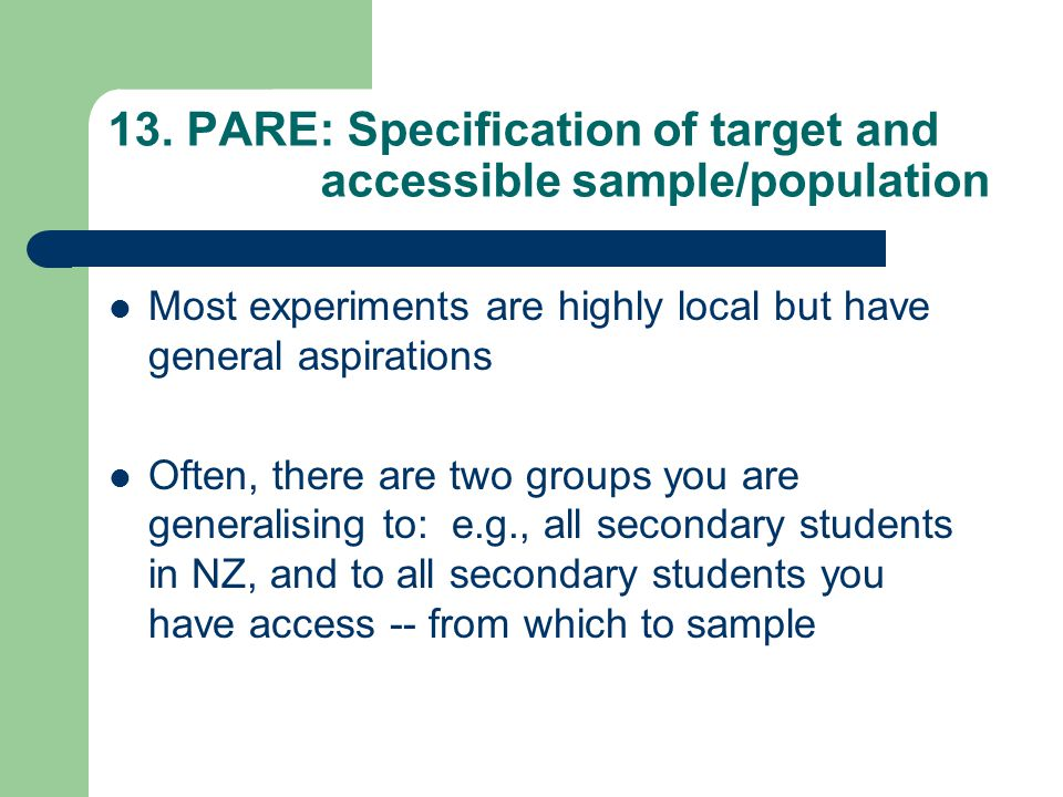13. PARE: Specification of target and accessible sample/population