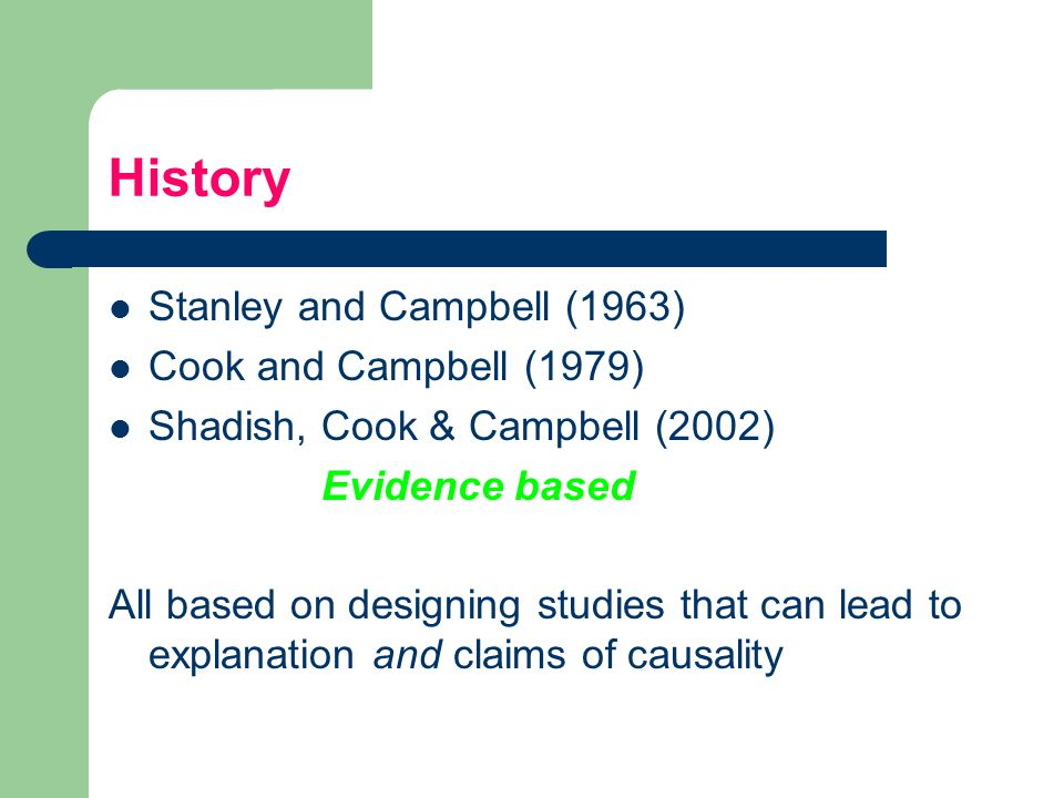 History Stanley and Campbell (1963) Cook and Campbell (1979)