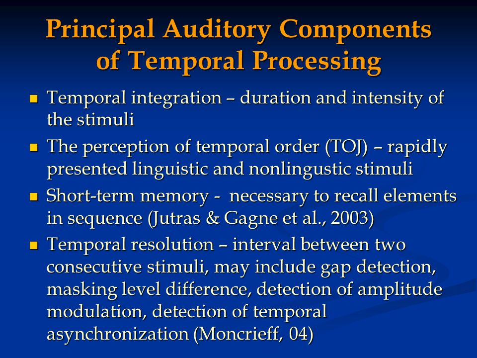 Principal Auditory Components of Temporal Processing