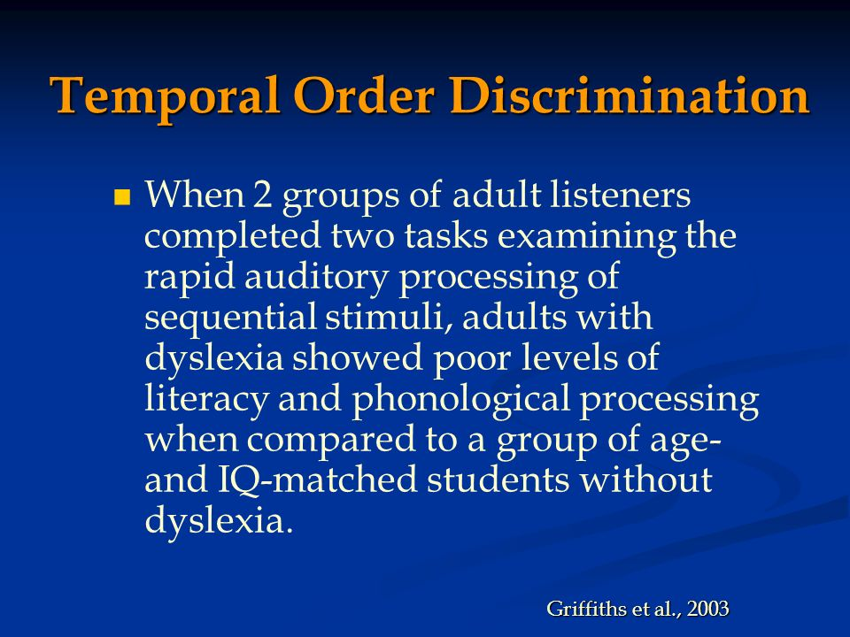 Temporal Order Discrimination