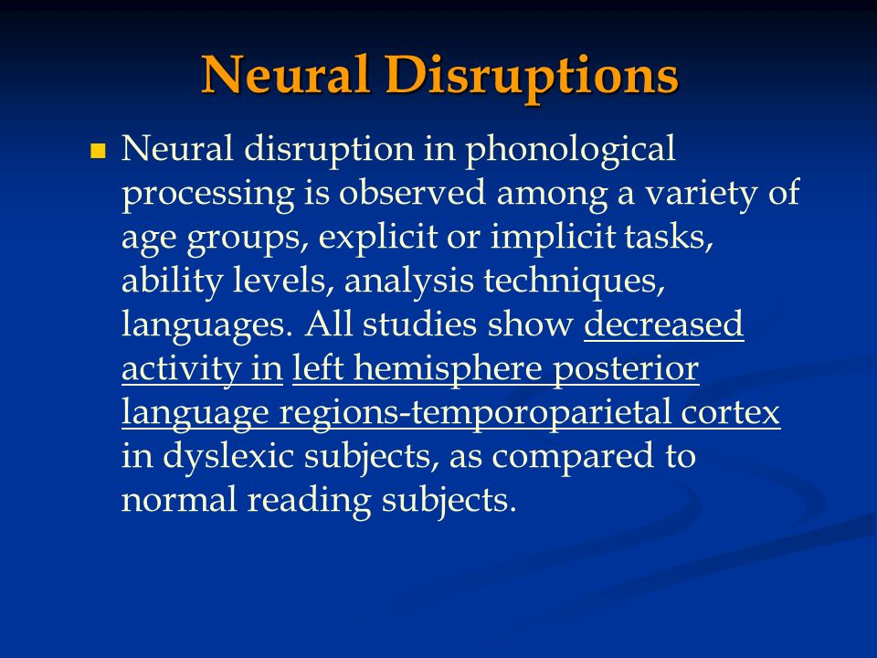 Neural Disruptions