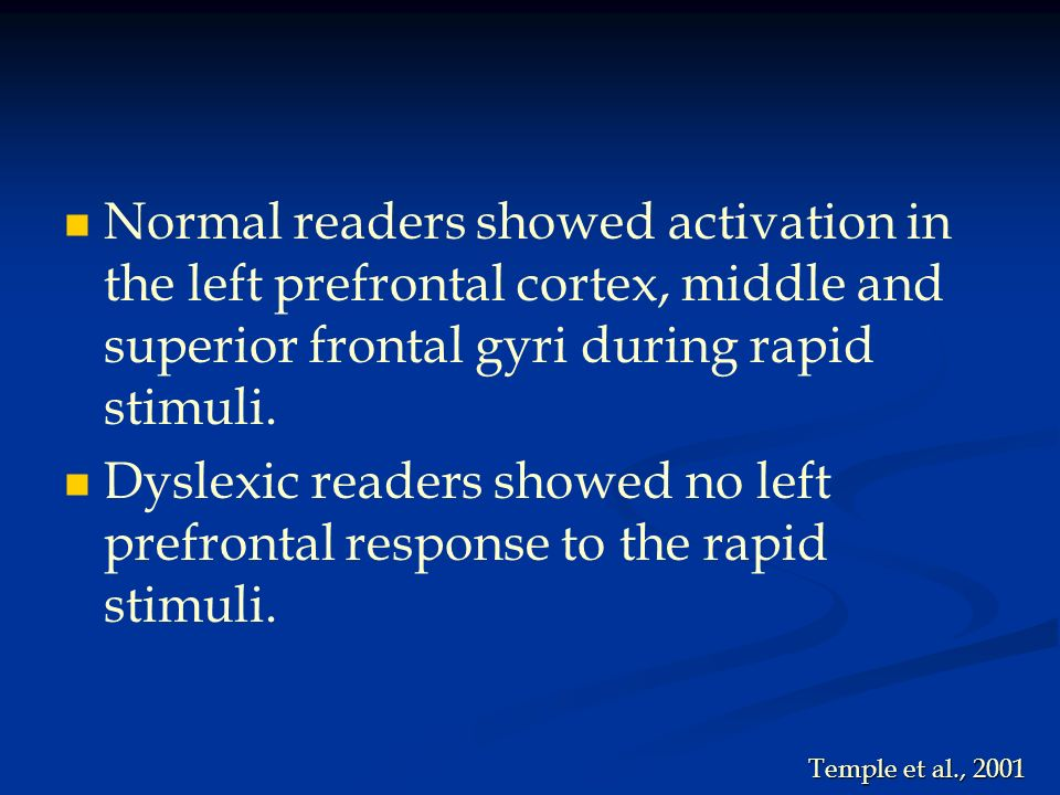 Normal readers showed activation in the left prefrontal cortex, middle and superior frontal gyri during rapid stimuli.