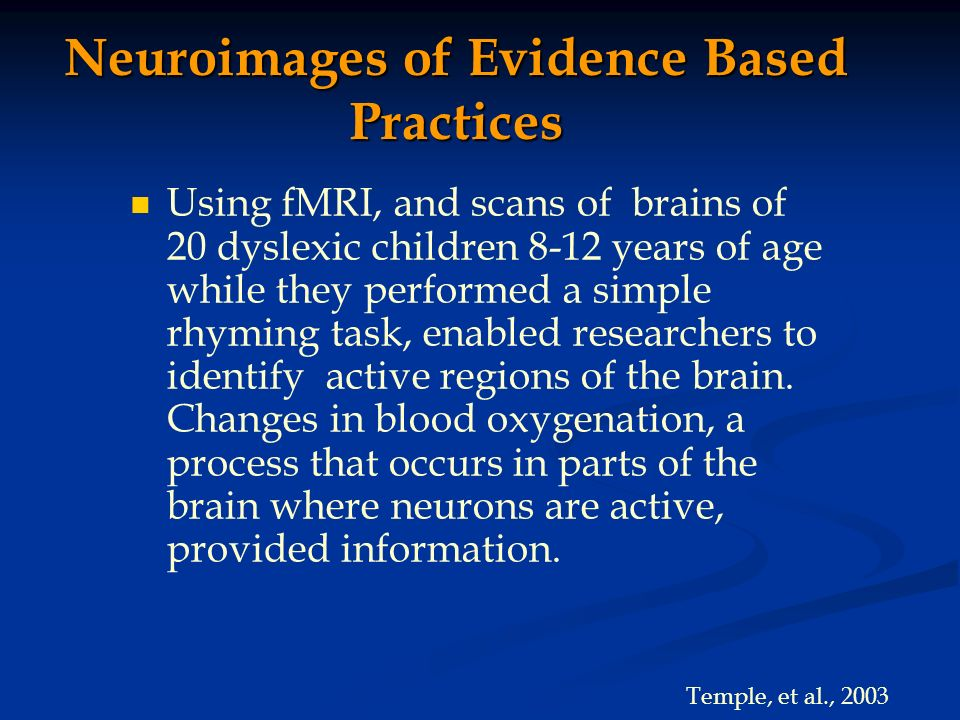 Neuroimages of Evidence Based Practices