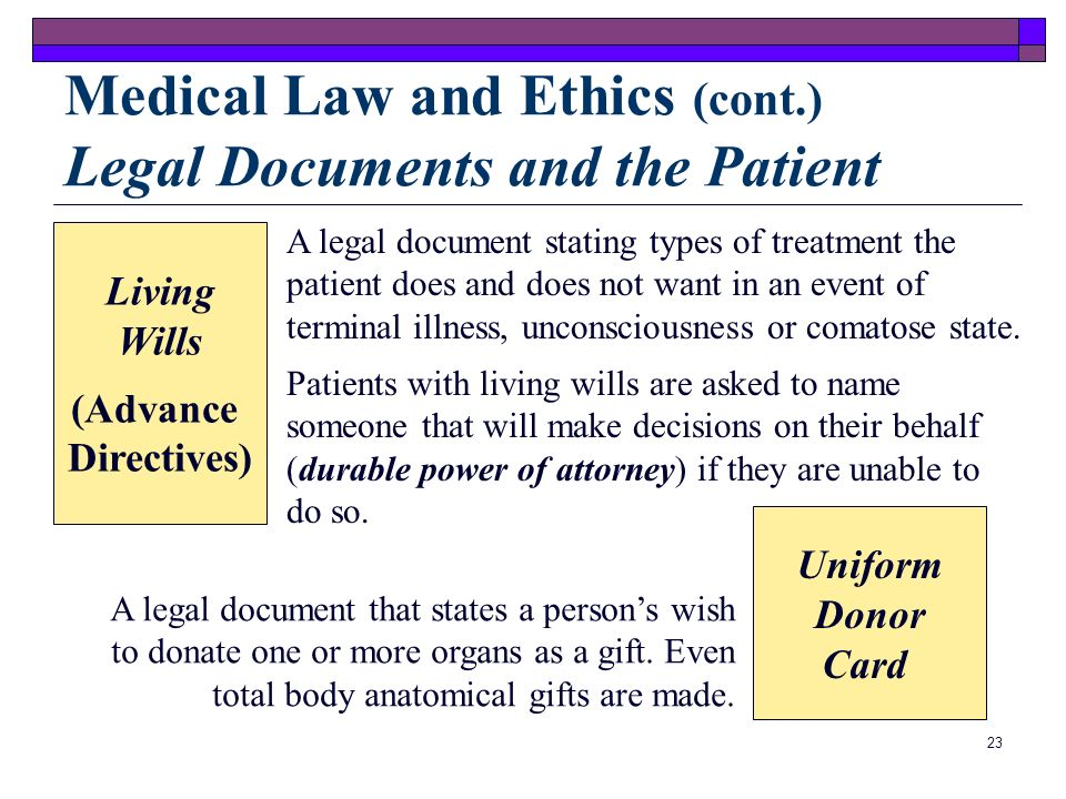 Medical Law and Ethics (cont.) Legal Documents and the Patient
