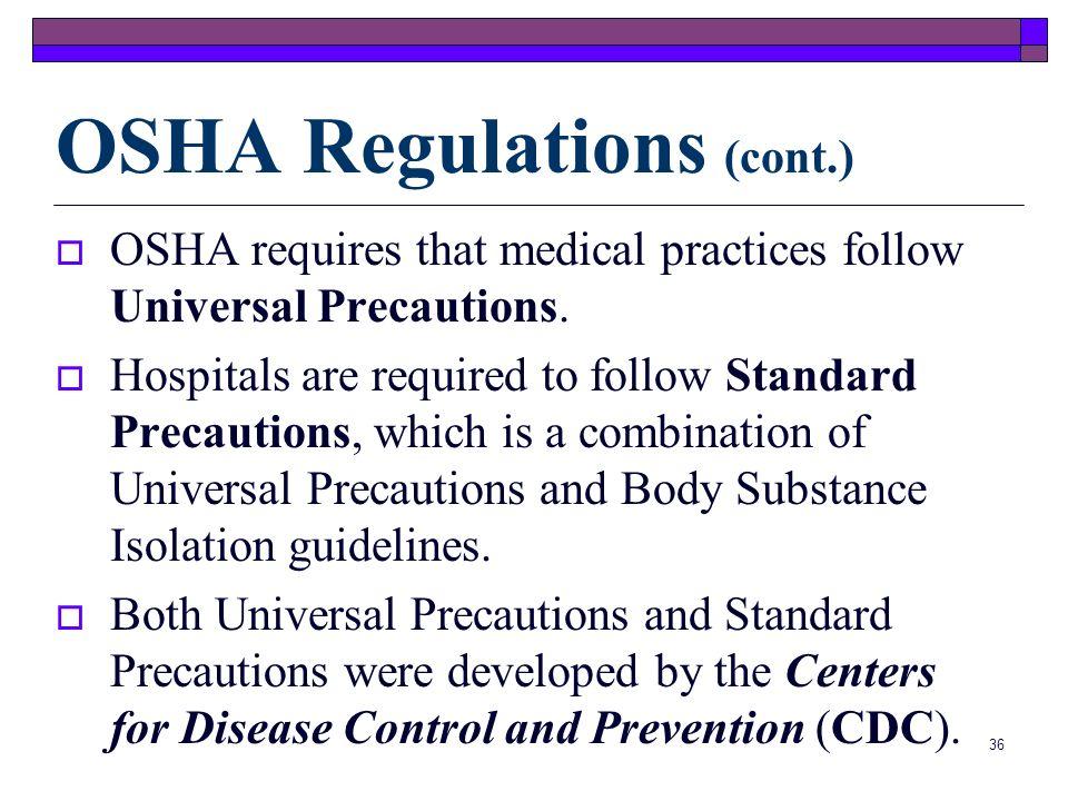 OSHA Regulations (cont.)