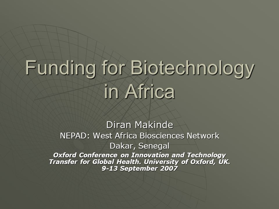 Funding for Biotechnology in Africa
