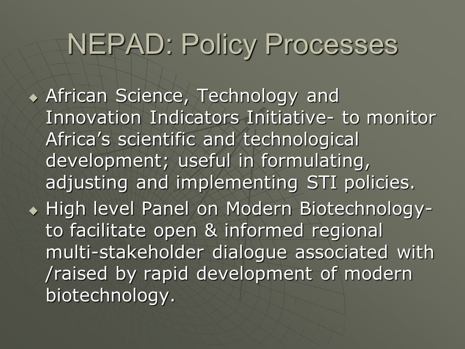 NEPAD: Policy Processes
