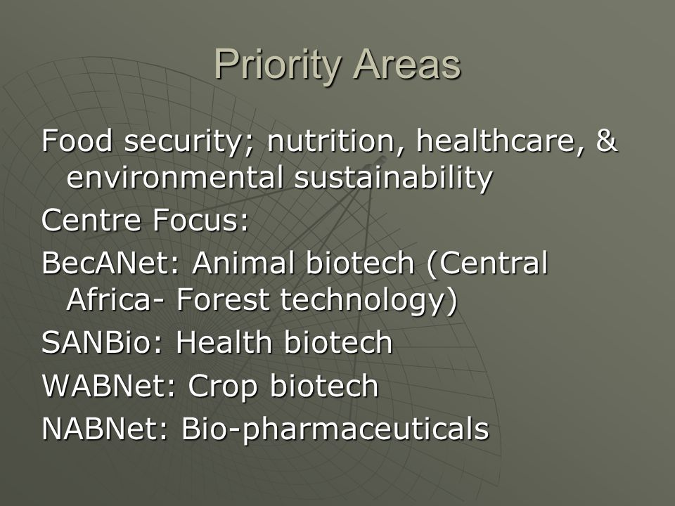 Priority Areas Food security; nutrition, healthcare, & environmental sustainability. Centre Focus: