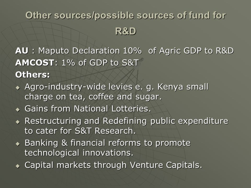 Other sources/possible sources of fund for R&D