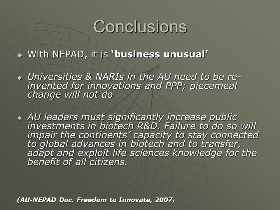 Conclusions With NEPAD, it is 'business unusual'