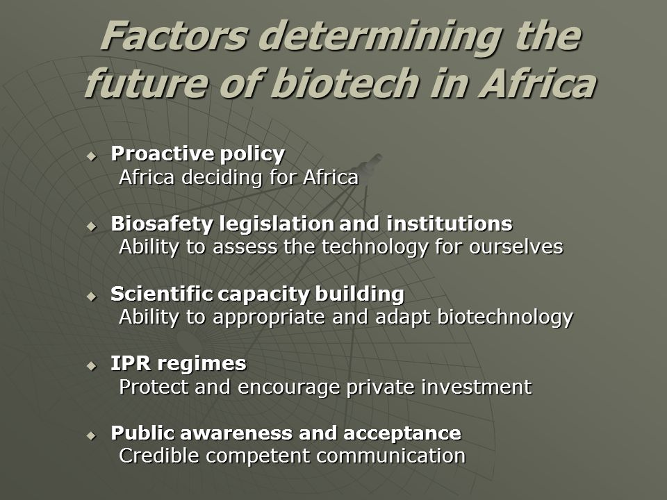 Factors determining the future of biotech in Africa