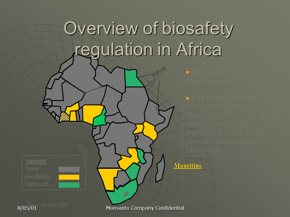 Overview of biosafety regulation in Africa