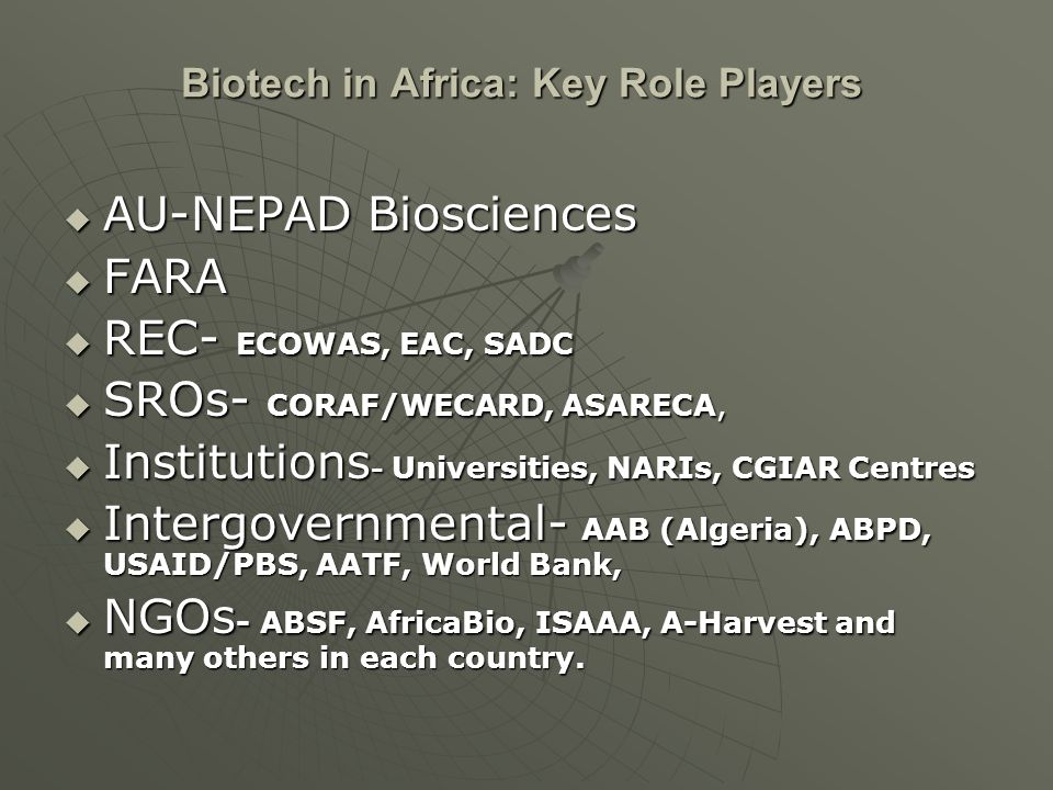 Biotech in Africa: Key Role Players