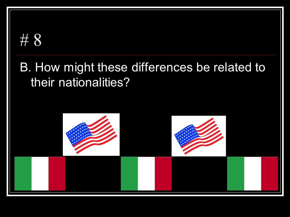 # 8 B. How might these differences be related to their nationalities