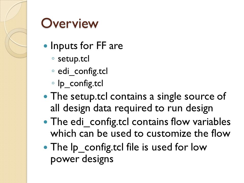 Overview Inputs for FF are