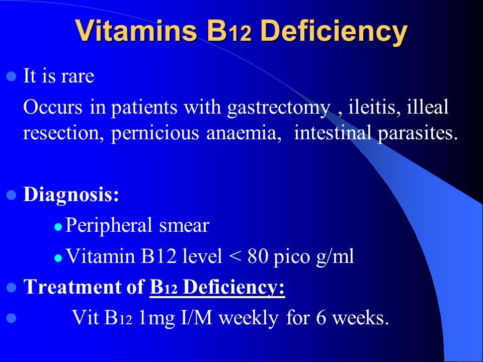 Vitamins B12 Deficiency It is rare
