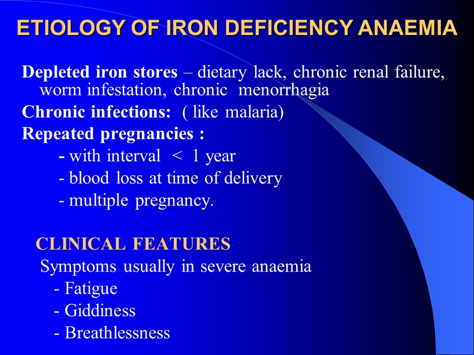 ETIOLOGY OF IRON DEFICIENCY ANAEMIA