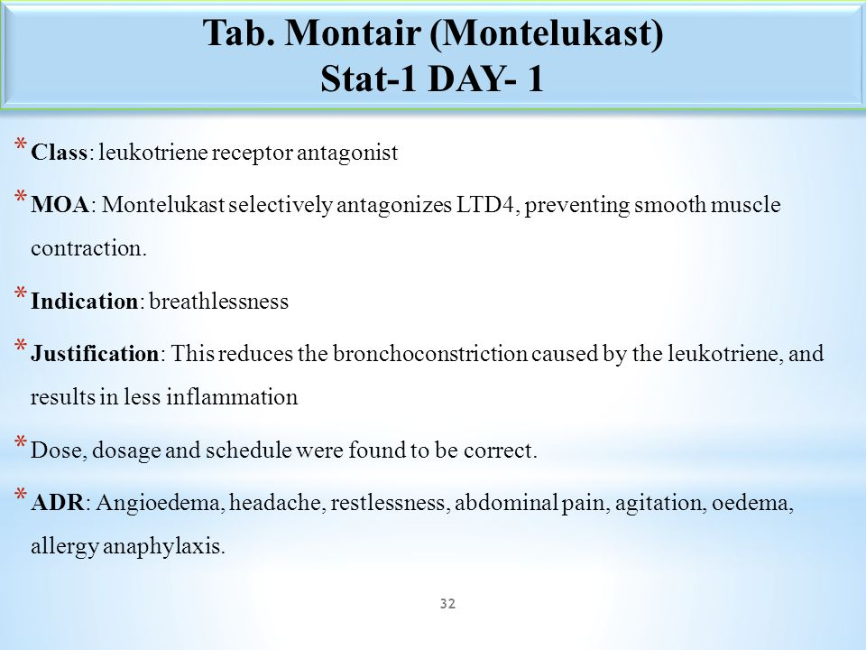 Tab. Montair (Montelukast)