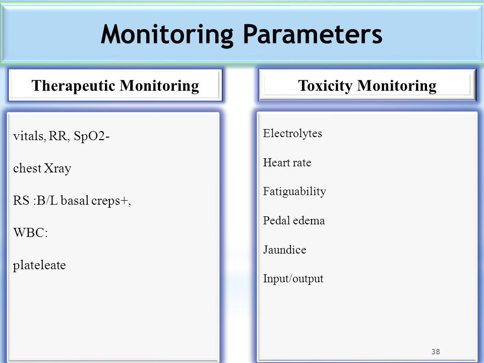 Monitoring Parameters Therapeutic Monitoring