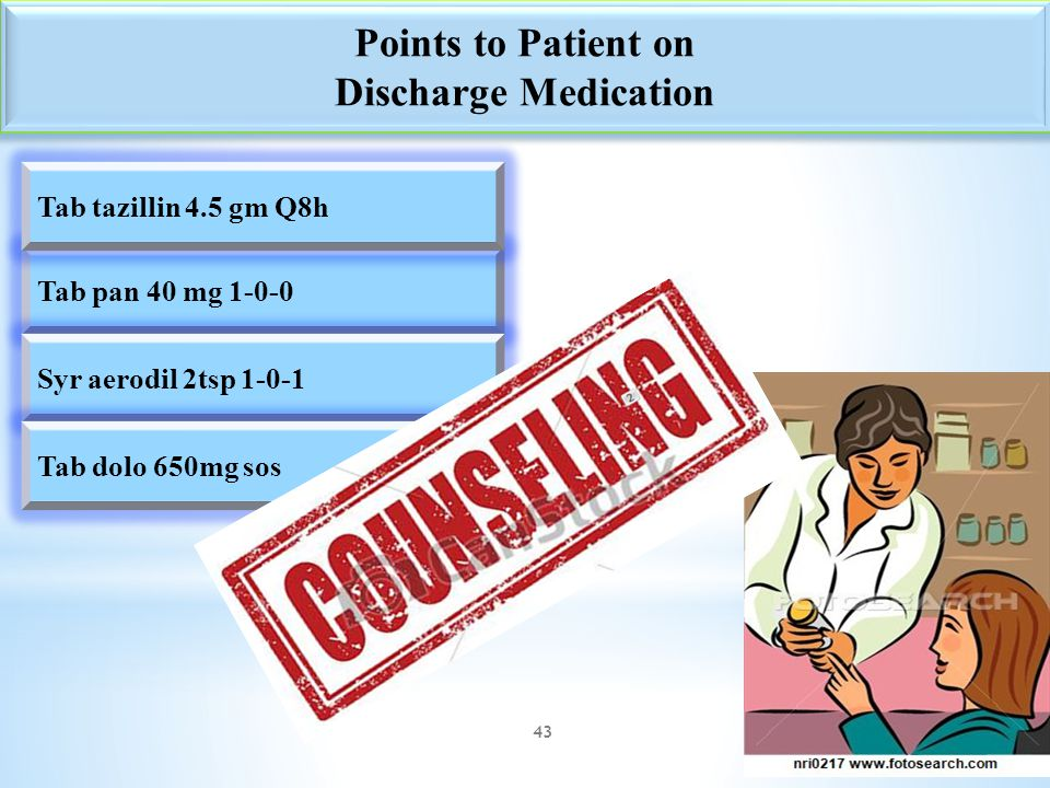Points to Patient on Discharge Medication