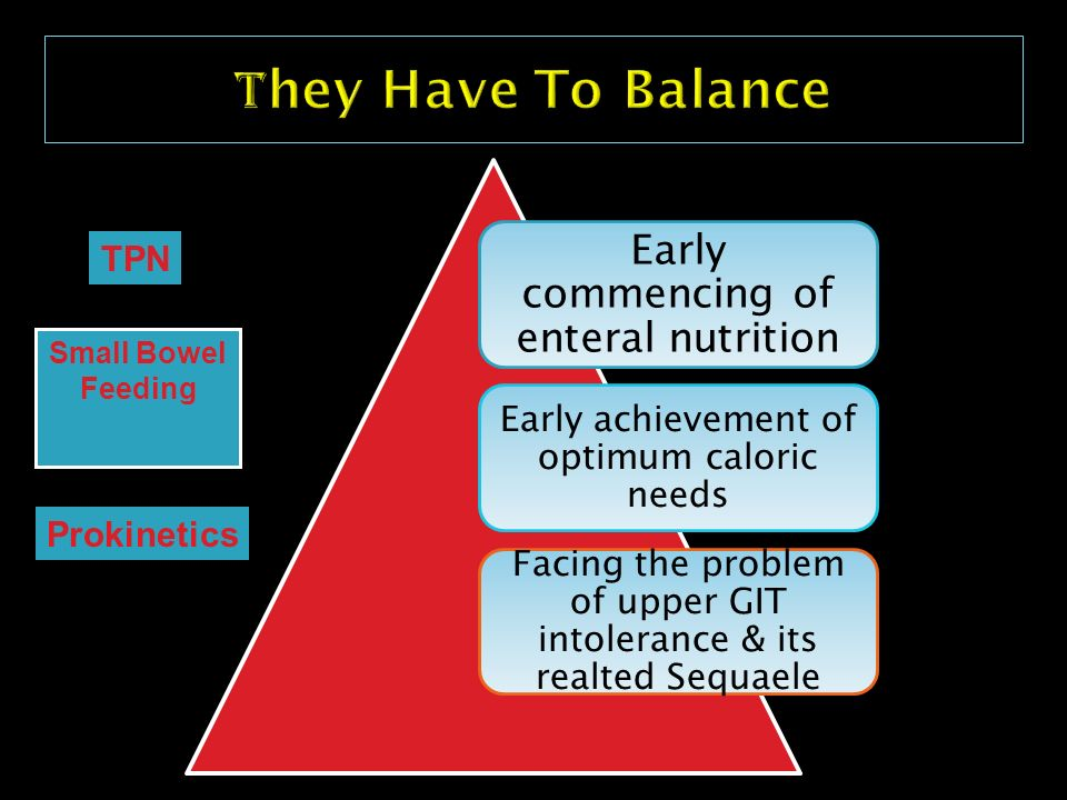 They Have To Balance Early commencing of enteral nutrition