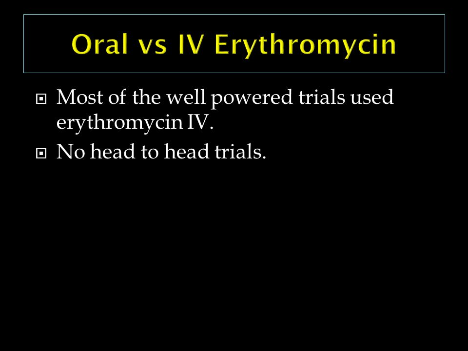 Oral vs IV Erythromycin