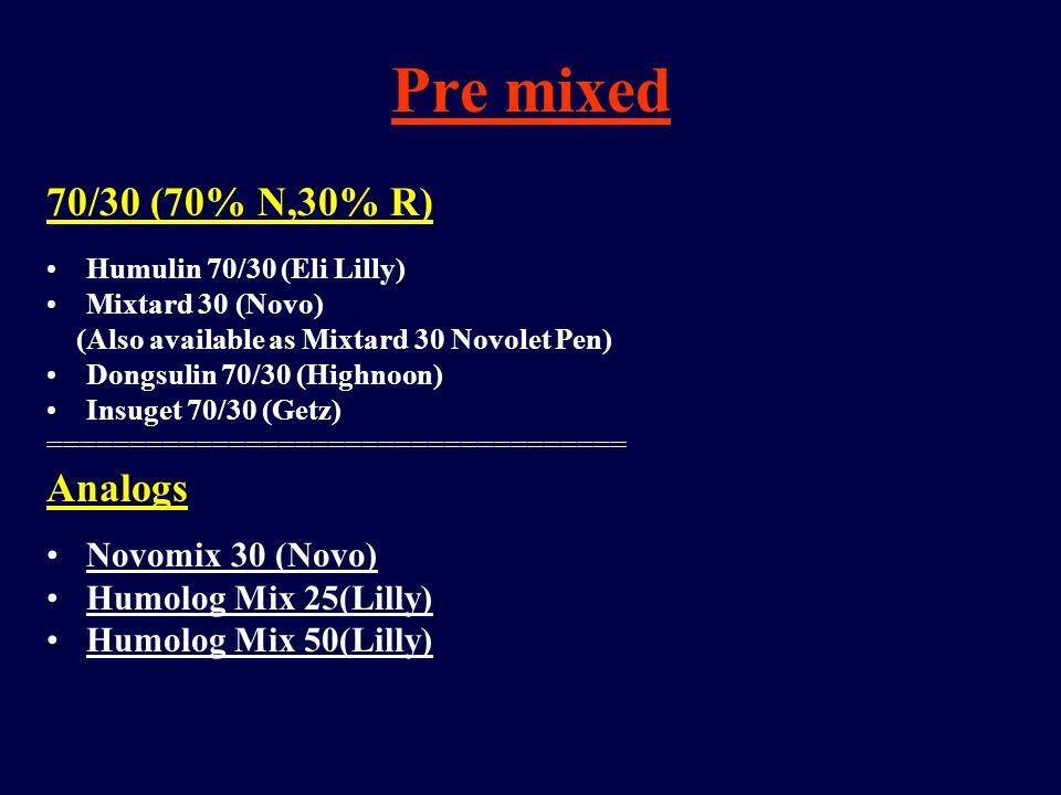Pre mixed 70/30 (70% N,30% R) Analogs Novomix 30 (Novo)