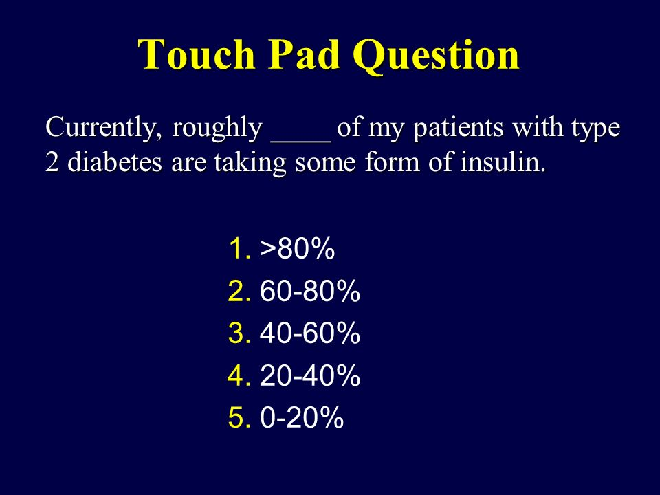 Touch Pad Question Currently, roughly ____ of my patients with type 2 diabetes are taking some form of insulin.