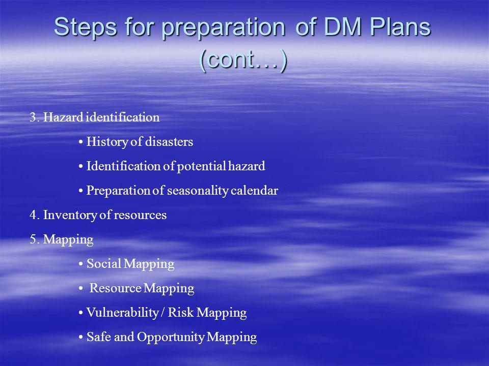 Steps for preparation of DM Plans (cont…)