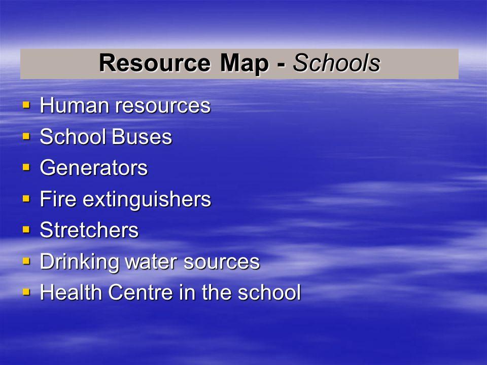 Resource Map - Schools Human resources School Buses Generators