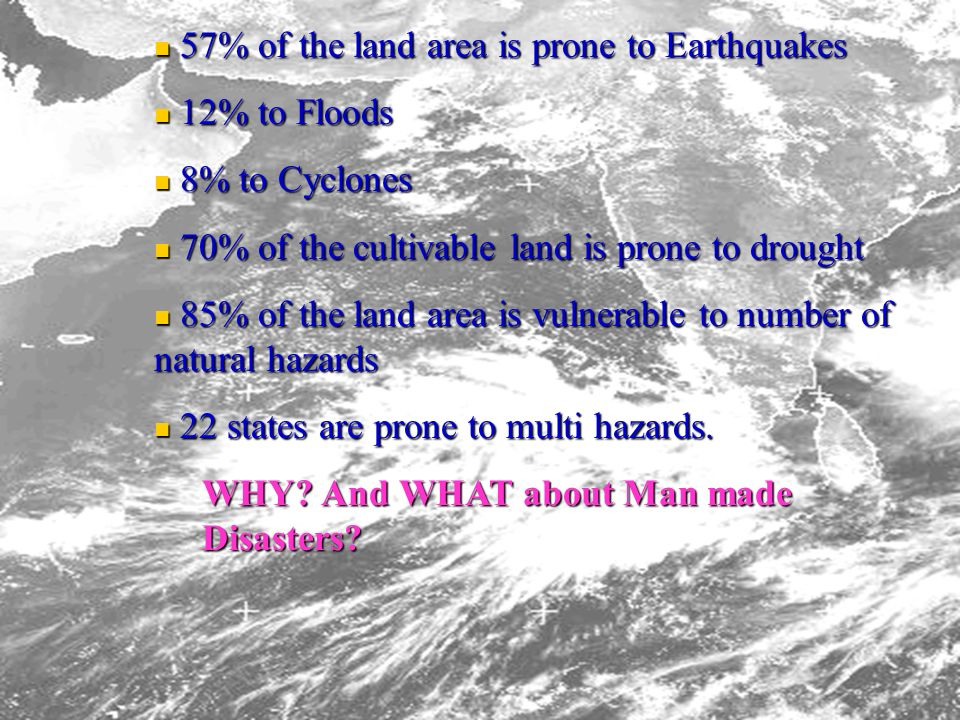 57% of the land area is prone to Earthquakes