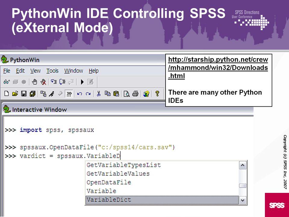 PythonWin IDE Controlling SPSS (eXternal Mode)