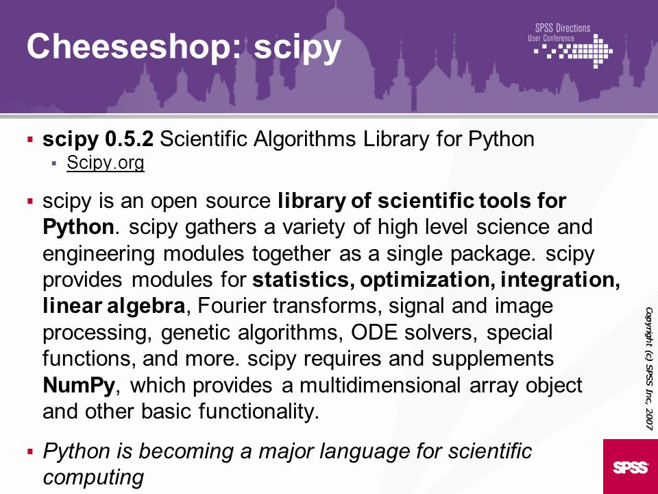 Cheeseshop: scipy scipy 0.5.2 Scientific Algorithms Library for Python