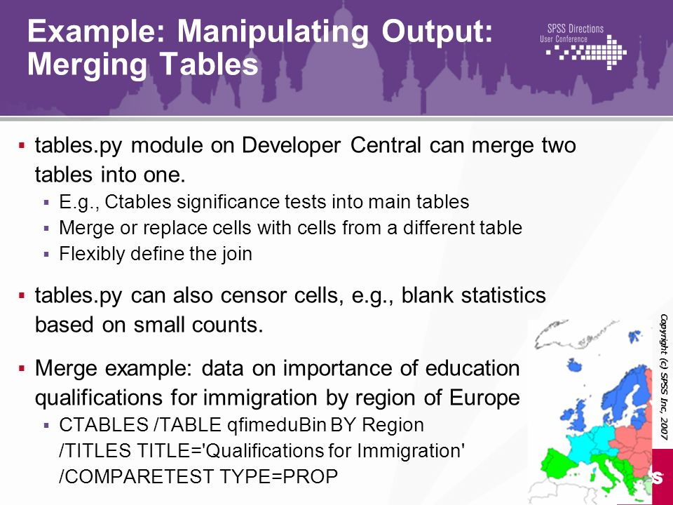 Example: Manipulating Output: Merging Tables