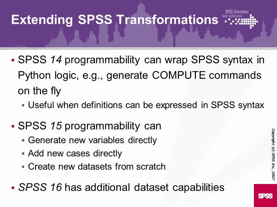 Extending SPSS Transformations