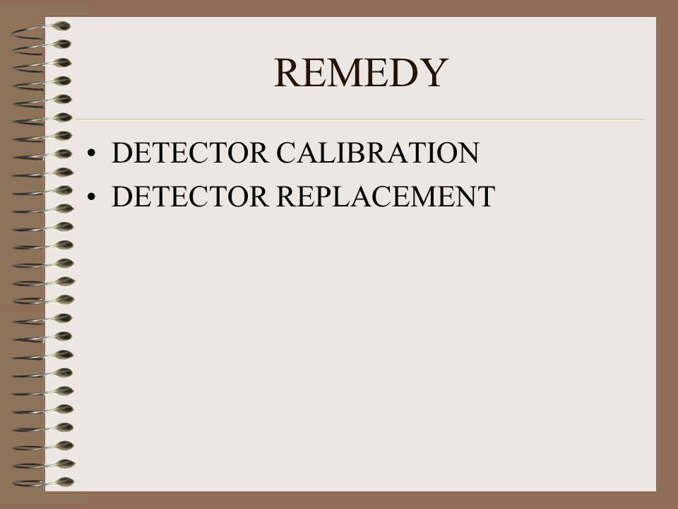REMEDY DETECTOR CALIBRATION DETECTOR REPLACEMENT