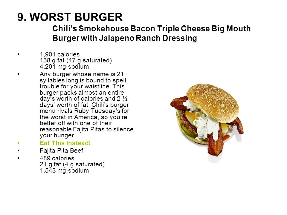 9. WORST BURGER Chili's Smokehouse Bacon Triple Cheese Big Mouth Burger with Jalapeno Ranch Dressing