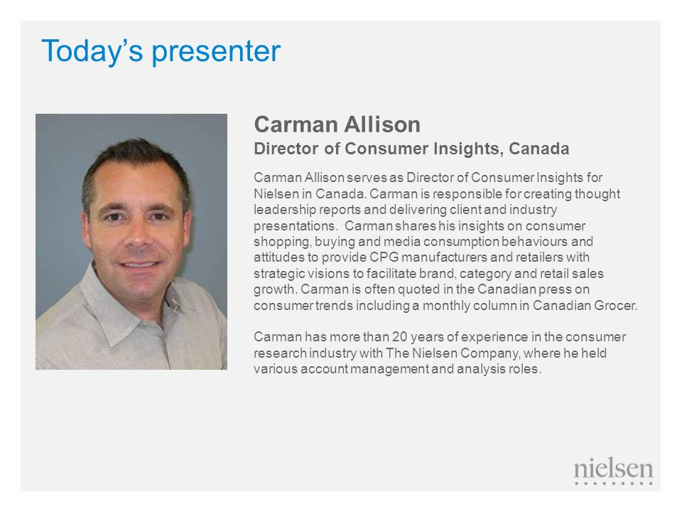 Today's presenter Carman Allison Director of Consumer Insights, Canada