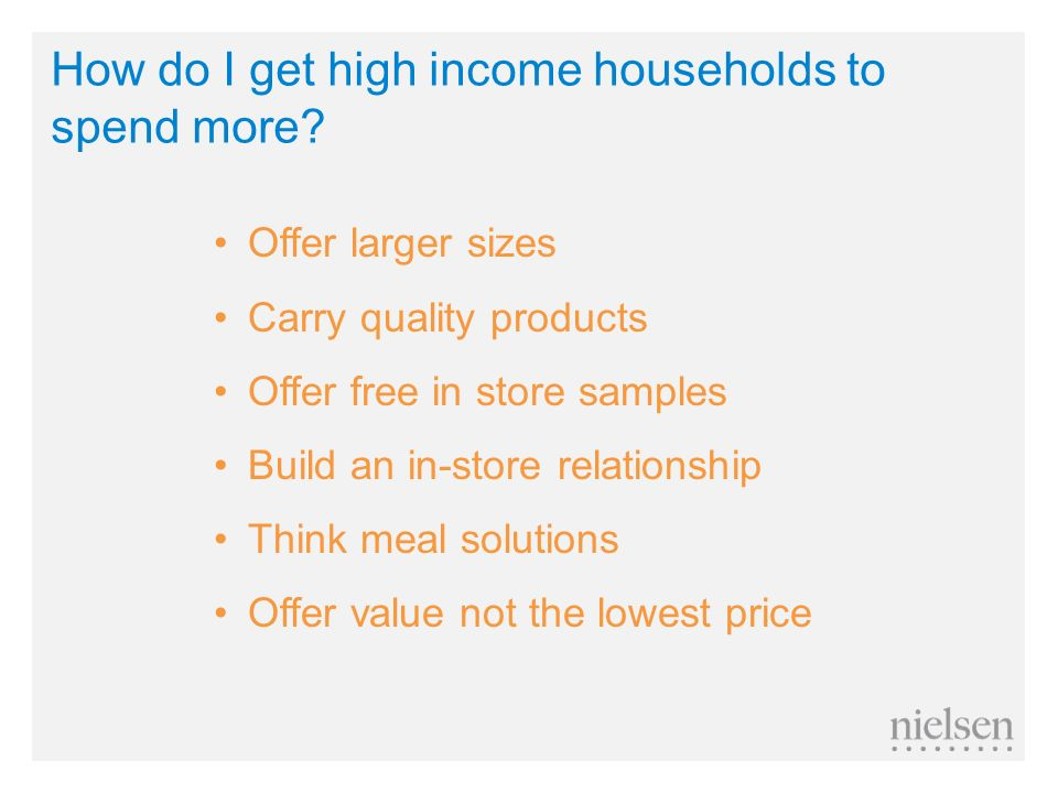 How do I get high income households to spend more