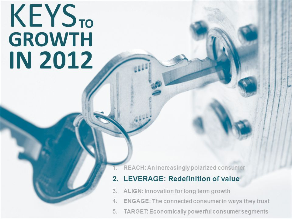KEYS IN 2012 GROWTH TO LEVERAGE: Redefinition of value