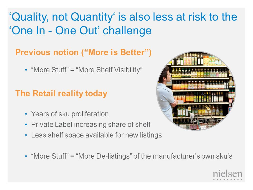 'Quality, not Quantity' is also less at risk to the 'One In - One Out' challenge