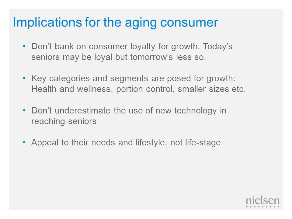 Implications for the aging consumer