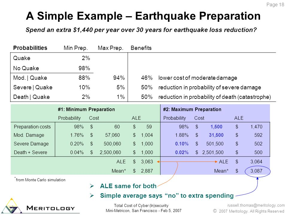 A Simple Example – Earthquake Preparation