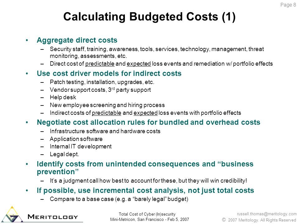 Calculating Budgeted Costs (1)