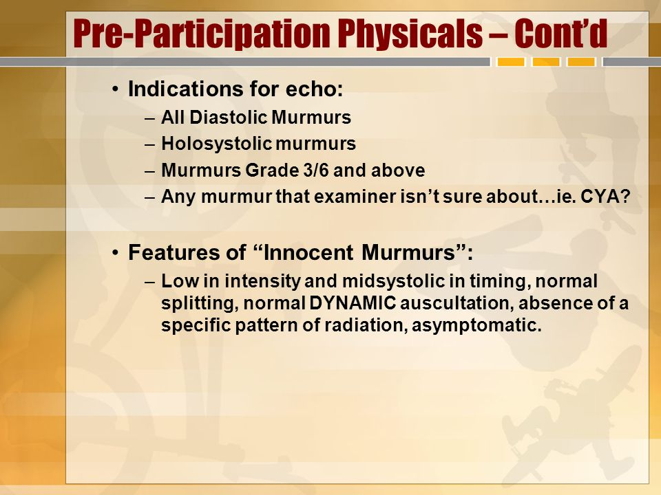 Pre-Participation Physicals – Cont'd