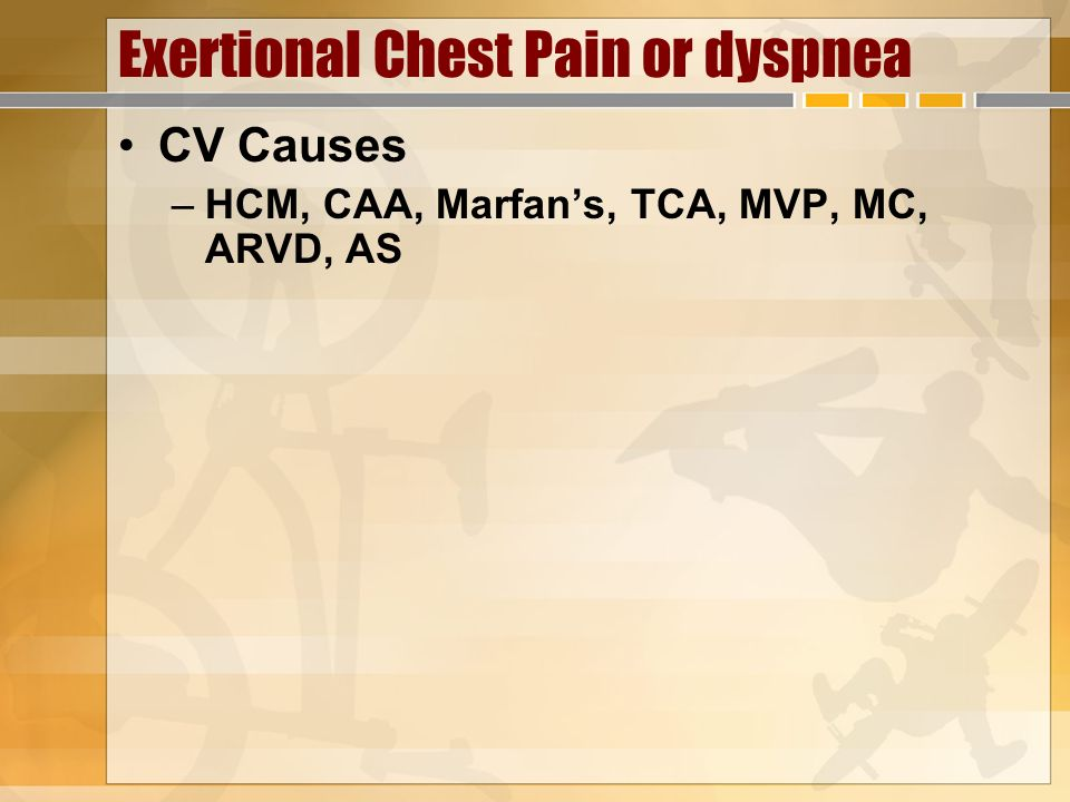 Exertional Chest Pain or dyspnea