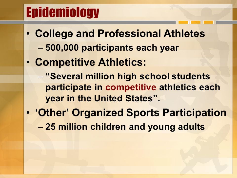 Epidemiology College and Professional Athletes Competitive Athletics: