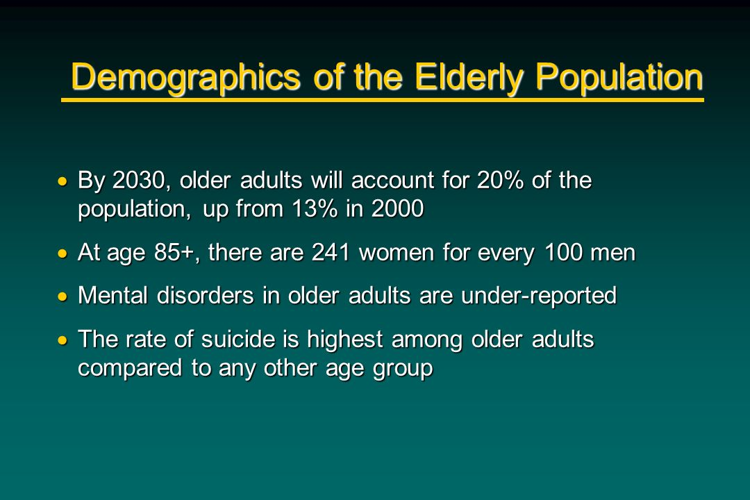 Demographics of the Elderly Population